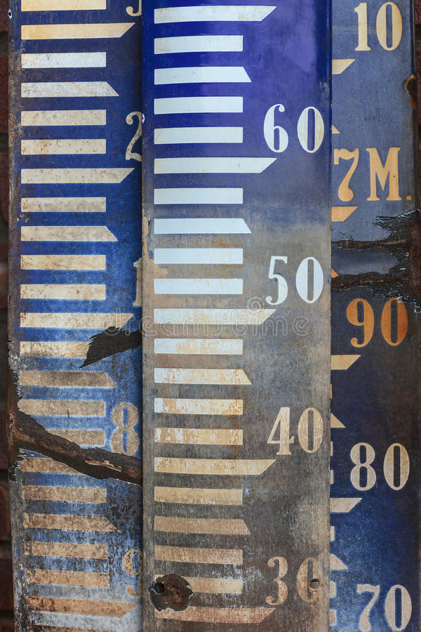 Vintage Amsterdam Ordnance Datum benchmark signs. For measuring the water level in Dutch rivers and lakes stock photo