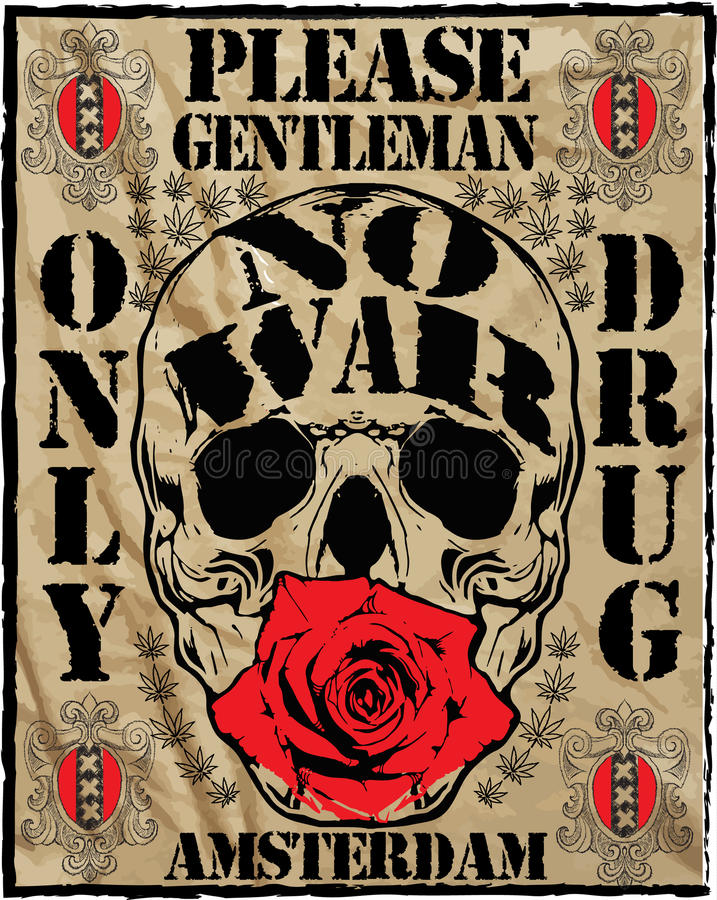 Vintage AMsterdam Skull Slogan Man T shirt Graphic Vector Design royalty free illustration