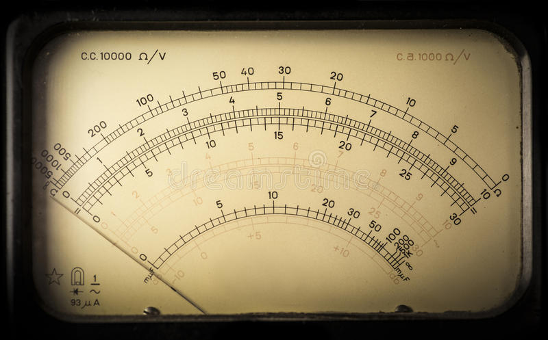 Vintage analog electric meter. Macro-shot of a meter section from a vintage analog electric meter stock images