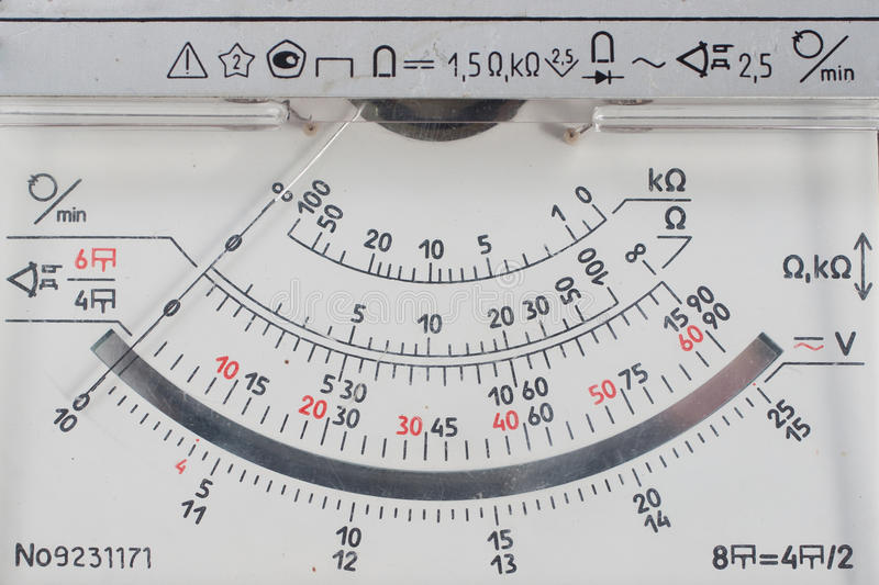 Vintage analog multimetr scale. Close-up royalty free stock photography