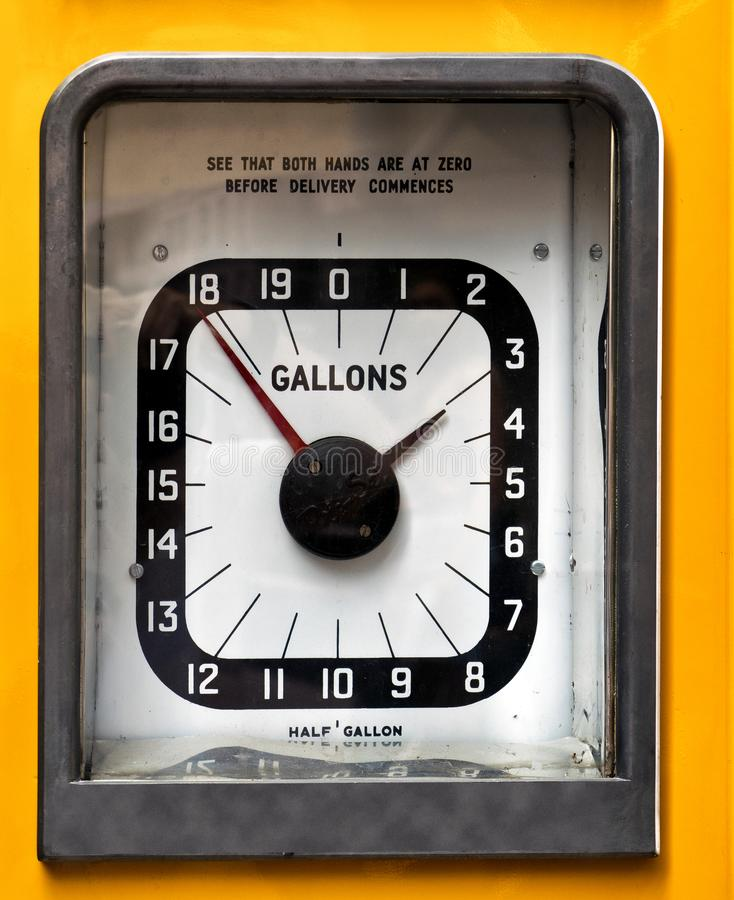 Vintage analog petrol or gas pump. Dial face stock photography