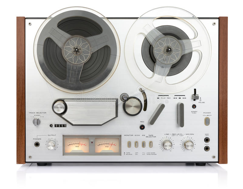 Vintage analog recorder reel to reel stock image