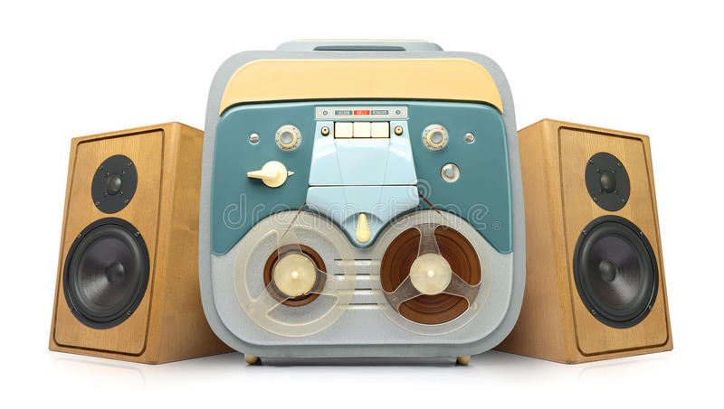 Vintage analog recorder reel to reel and speakers royalty free stock photography