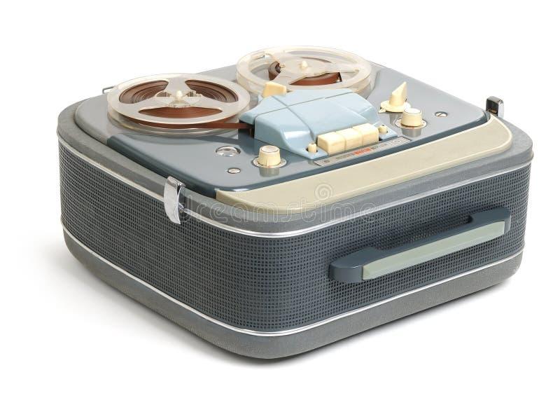 Vintage analog recorder reel to reel on white royalty free stock image