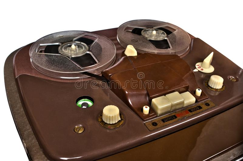 Vintage analog recorder reel to reel on white royalty free stock photography