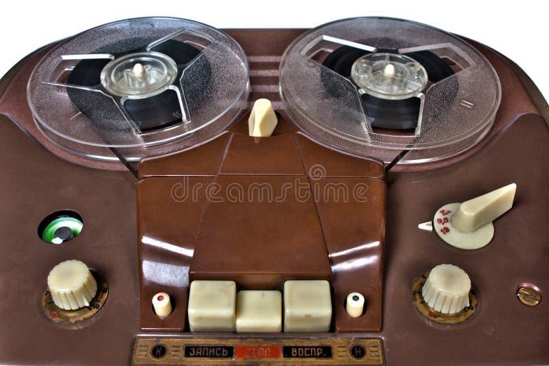 Vintage analog recorder reel to reel on white. Background royalty free stock image
