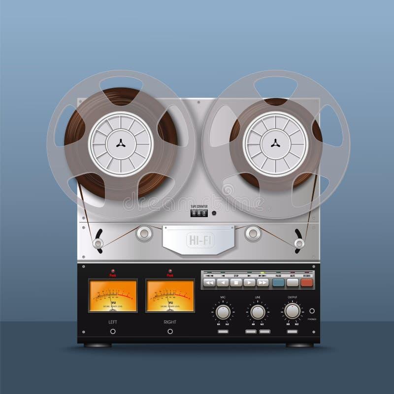 Vintage Analog Reel Tape Recorder. Retro style royalty free illustration