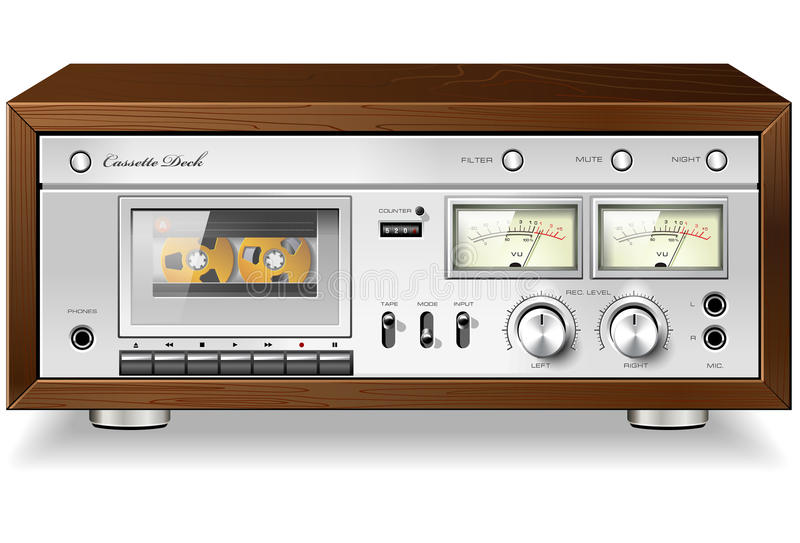 Vintage analog stereo cassette tape deck player royalty free illustration