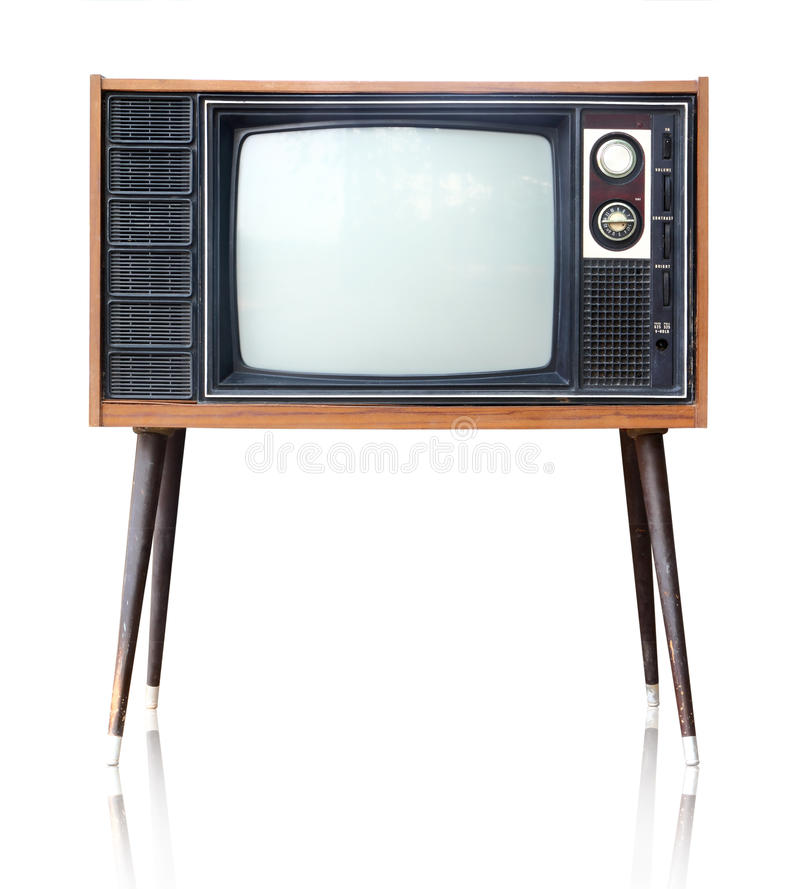 Vintage analog television isolated, clipping path. Vintage analog television isolated over white background, clipping path royalty free stock photography