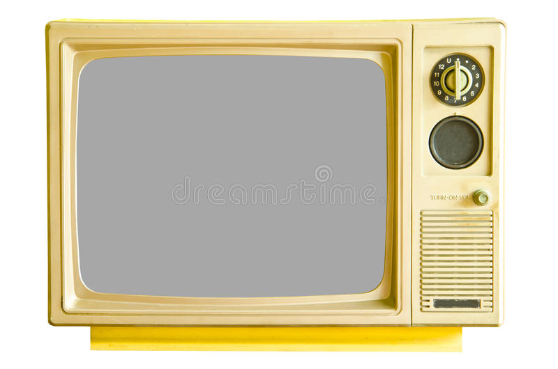 Vintage analog television. Isolated on white background, clipping path stock photo
