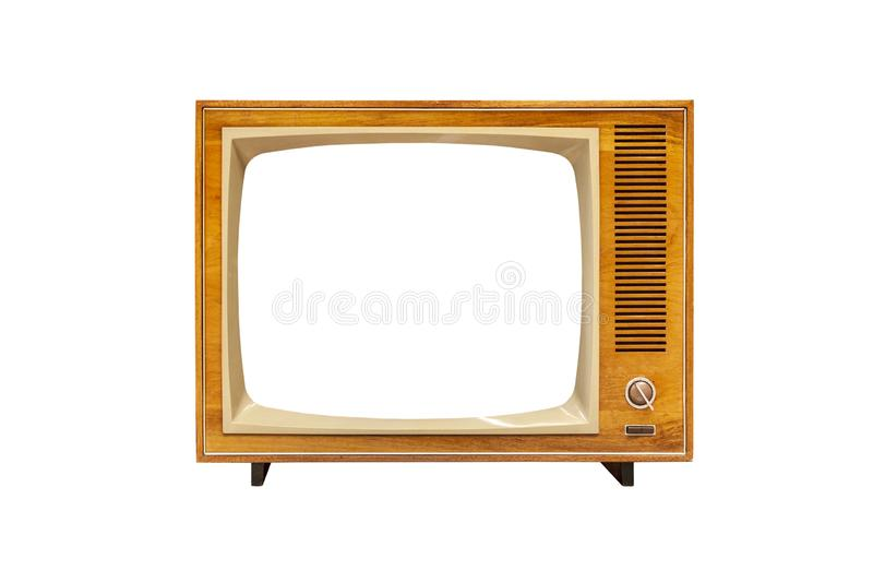Vintage analog TV set with blank screen isolated on white background stock photos