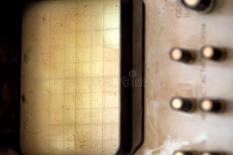 Old oscilloscope with blank screen royalty free stock image