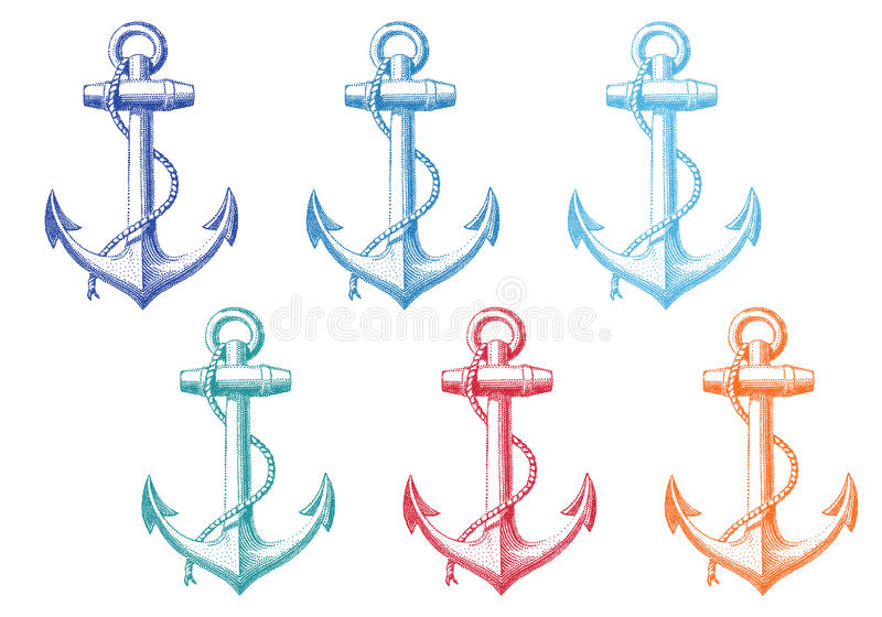 Vintage anchor with rope, set vector illustration