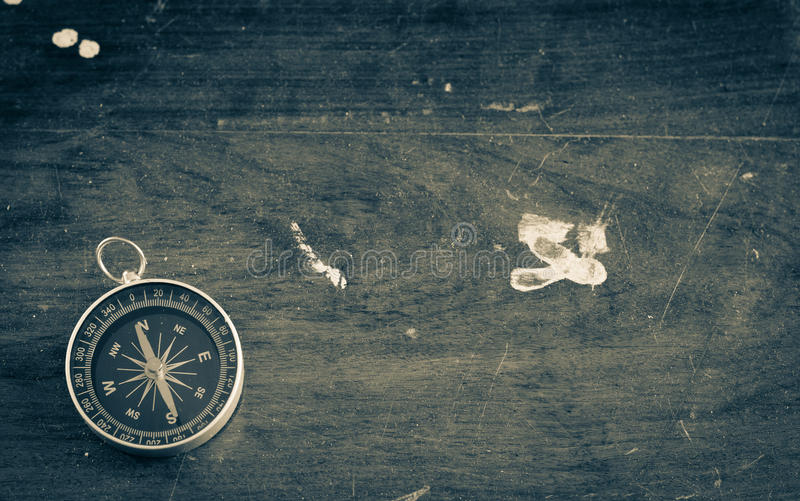 Vintage ancient wooden background with compass royalty free stock photography