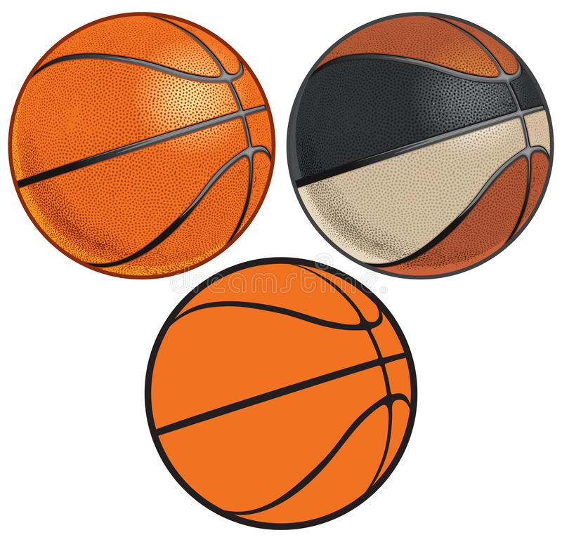 Free Vintage And Modern Basketballs With Realistic Dimples Stock Images - 130703654
