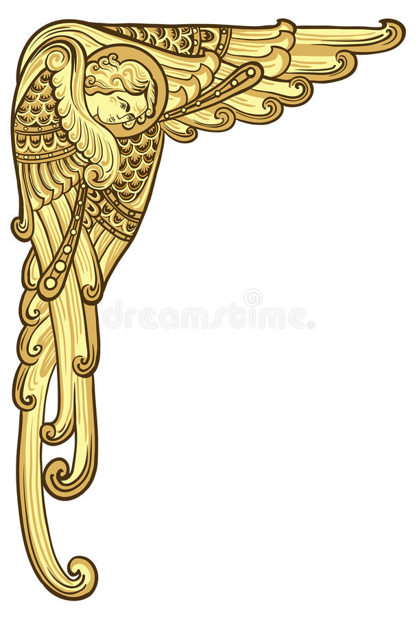 Vintage angel with golden wings. Christmas angel holiday Vintage angel with golden wings vector illustration