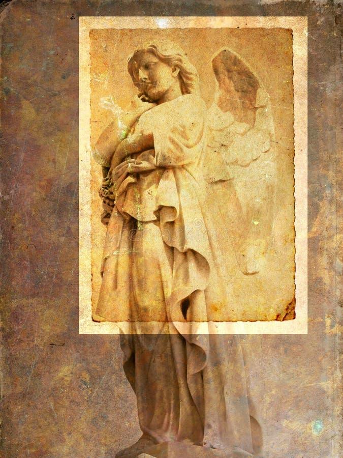 Vintage angel postcard - sepia stock image