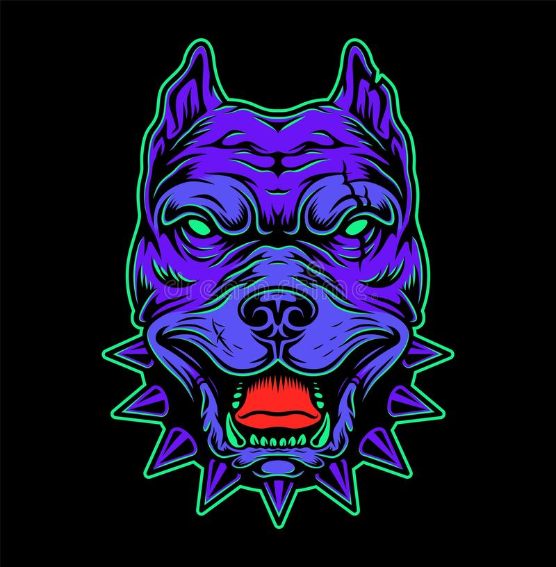 Vintage angry pitbull head concept stock illustration