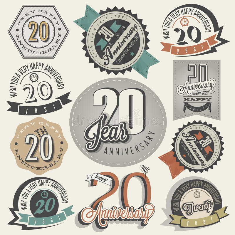 Vintage 20 anniversary collection. royalty free illustration
