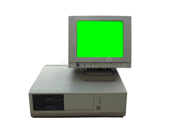 Vintage antiga e computador estilo em fundo branco imagens de stock