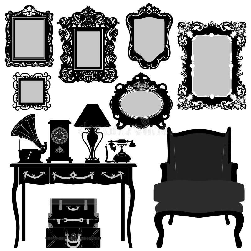 Vintage antigo da mobília do frame de retrato retro ilustração royalty free