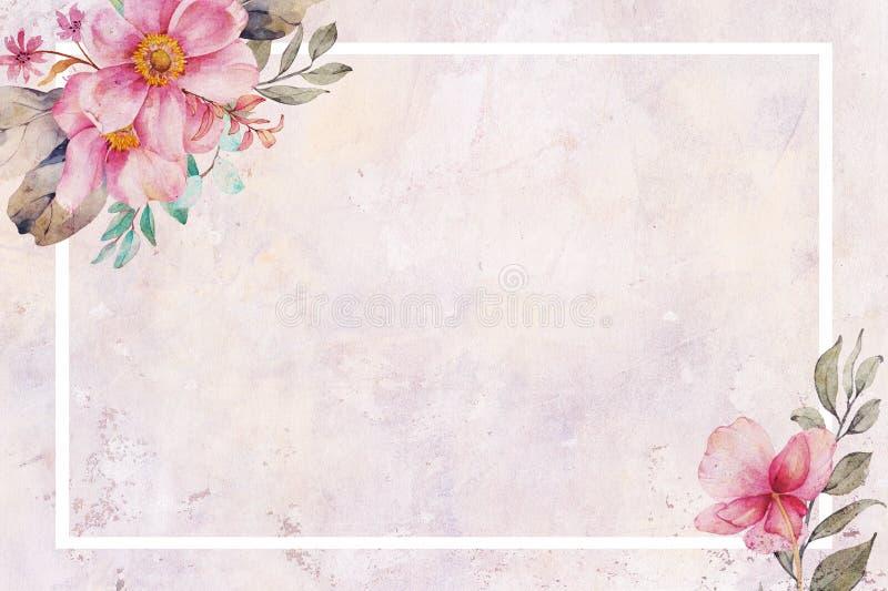 Vintage antigo fundo cor-de-rosa Textured do Floret ilustração royalty free