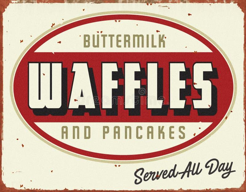 Vintage antiguo Tin Sign Pancakes de las galletas libre illustration