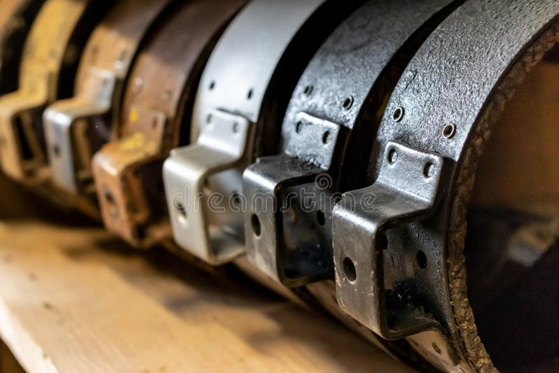 Vintage antique automotive remanufactured brake shoes royalty free stock photo