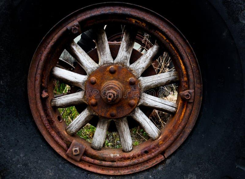 Vintage antique automotive tractor wood wheel spokes stock photography