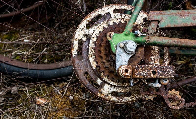 Vintage antique bicycle sprocket gear assembly and shifter royalty free stock images