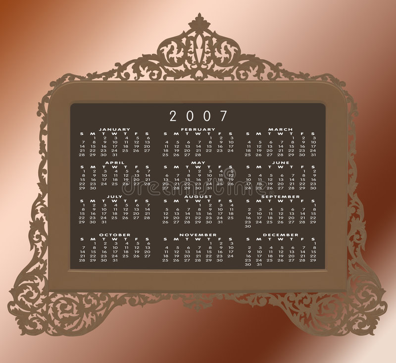 Vintage antique brass frame with 2007 calendar stock photo