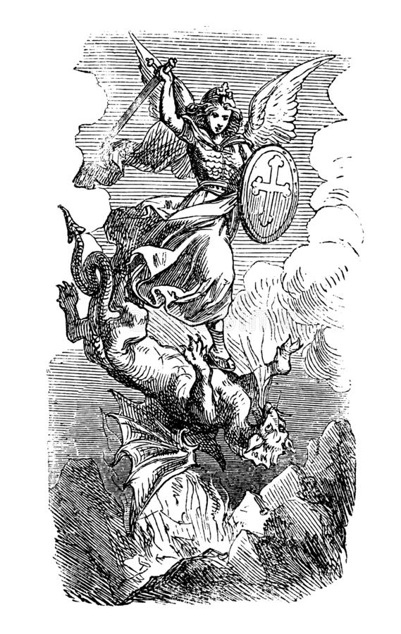 Vintage Drawing of Biblical Archangel Michael Fighting With Satan as Dragon royalty free illustration