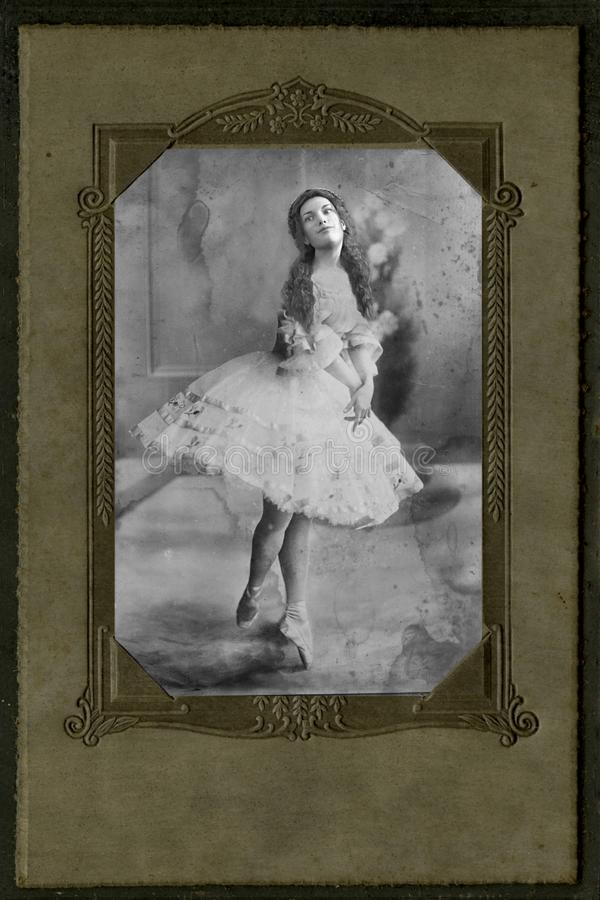 Vintage Antique Photograph Ballet Dancer, Woman, Ballet royalty free stock images