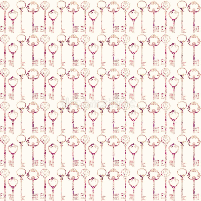 Vintage Antique pink key Seamless repeat pattern royalty free illustration