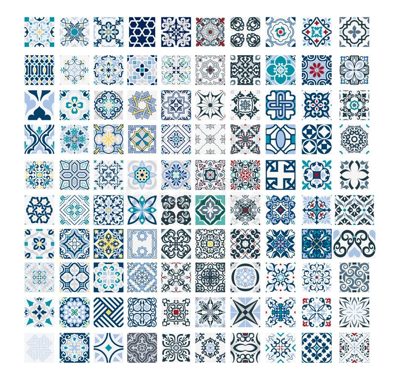 Vintage antique Portuguese seamless design patterns tiles in Vector illustration. Vintage antique Portuguese seamless design patterns tiles wall craft design vector illustration
