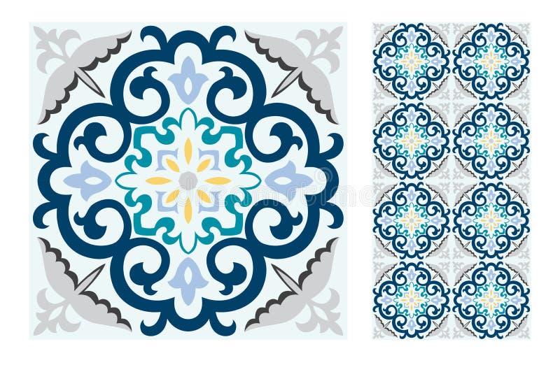 Vintage antique Portuguese seamless design patterns tiles in Vector illustration. Vintage antique Portuguese seamless design patterns tiles wall craft design royalty free illustration