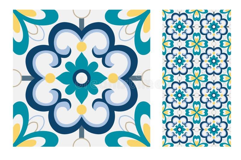 Vintage antique Portuguese seamless design patterns tiles in Vector illustration stock illustration