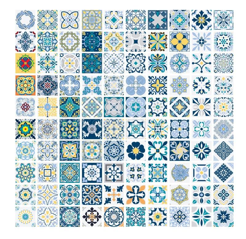 Vintage antique Portuguese seamless design patterns tiles in Vector illustration vector illustration