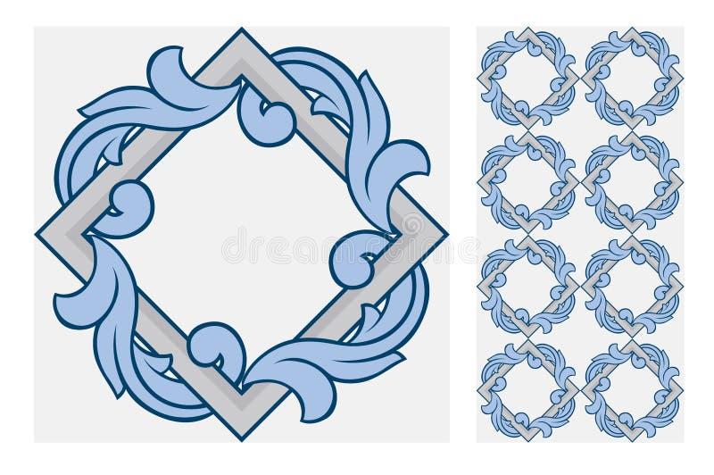 Vintage antique Portuguese seamless design patterns tiles in Vector illustration. Vintage antique Portuguese seamless design patterns tiles wall craft design stock illustration