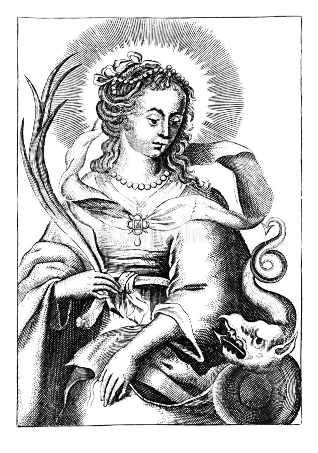Vintage Antique Religious Allegorical Drawing or Engraving of Christian Holy Woman Saint Margaret of Antioch or Saint royalty free stock photo
