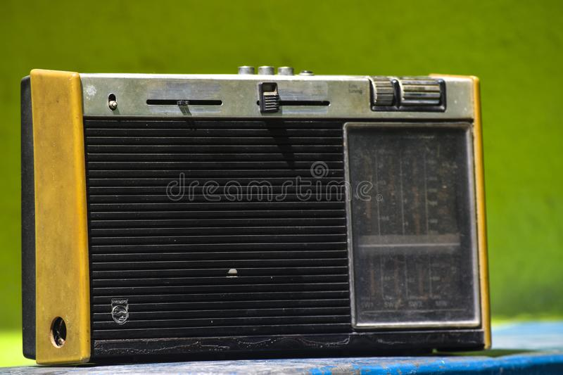 Vintage antique retro old radio in the interior 3D illustration royalty free stock photography