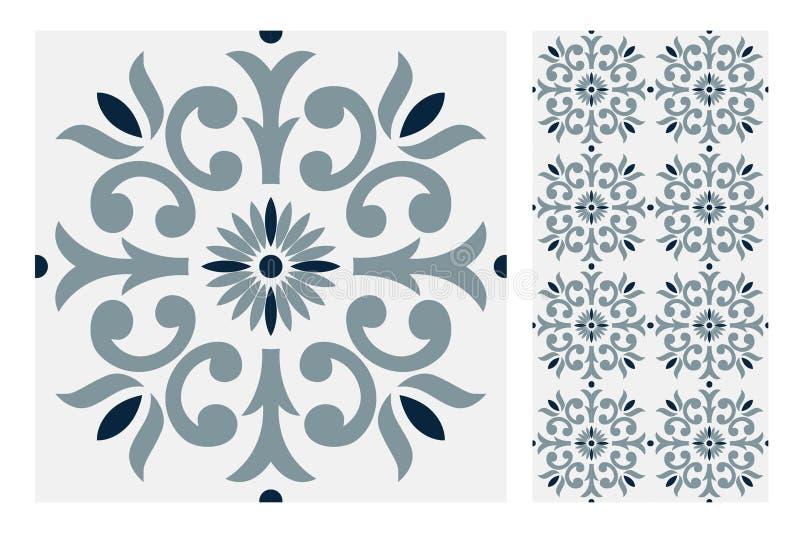 Vintage antique seamless design patterns tiles in Vector illustration stock illustration