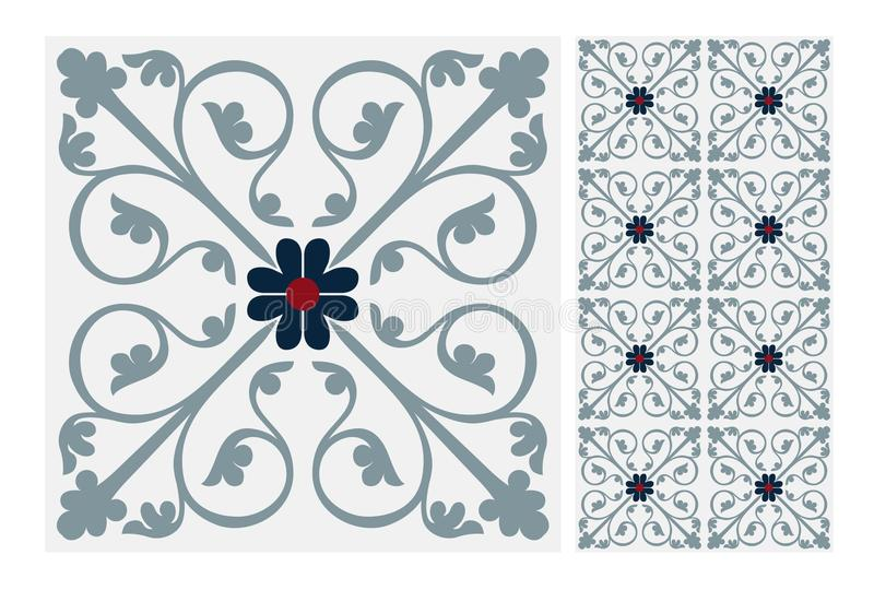 Vintage antique seamless design patterns tiles in Vector illustration. Vintage antique seamless design patterns tiles wall craft design patterns, vector royalty free illustration