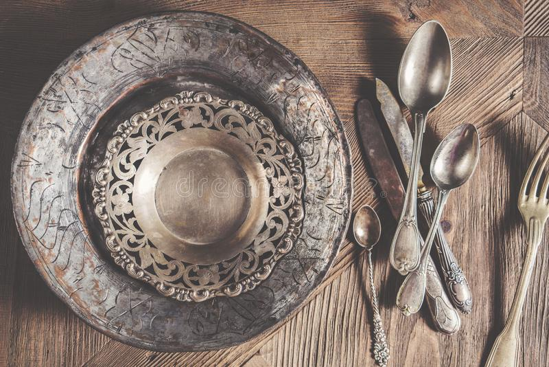 Vintage Antique Silverware On Wooden Background Stock Image
