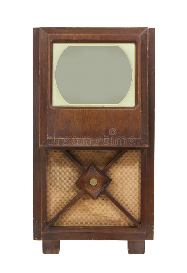 Vintage Antique TV Isolated stock image
