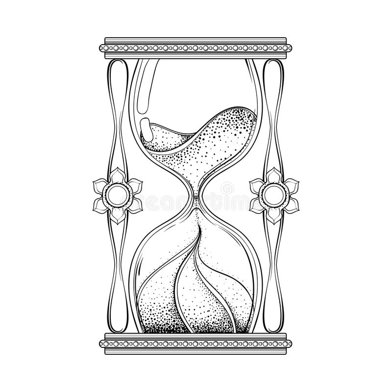 Vintage antique wizard hourglass in dotwork tattoo design for al vector illustration