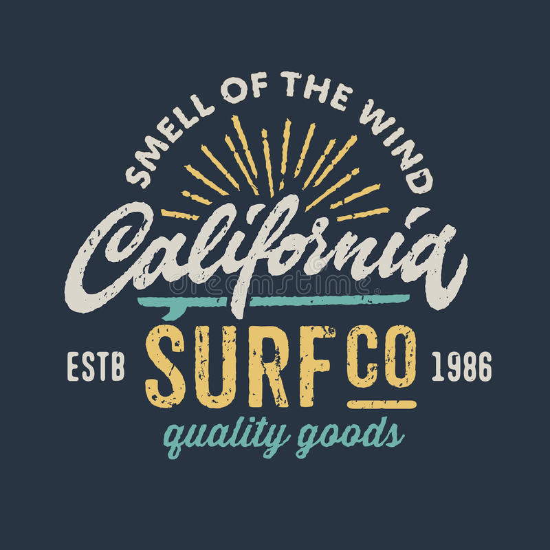 Vintage apparel design for surfing company vector illustration