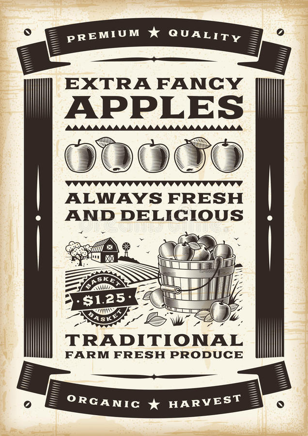 Vintage apple harvest poster royalty free illustration