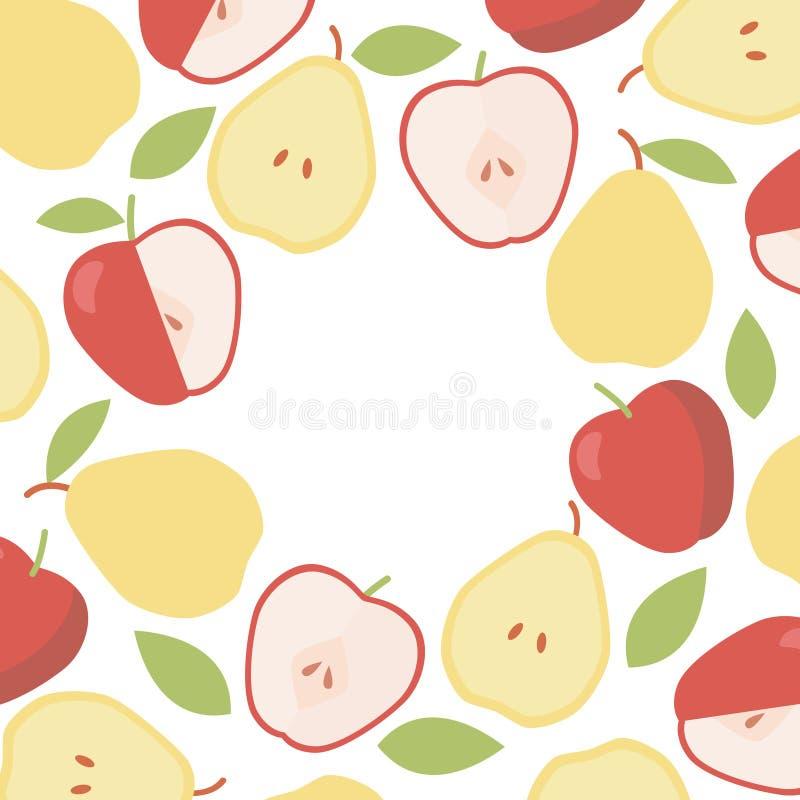 Vintage apple and pear round border. Organic ingredient. Vector frame background.  stock illustration