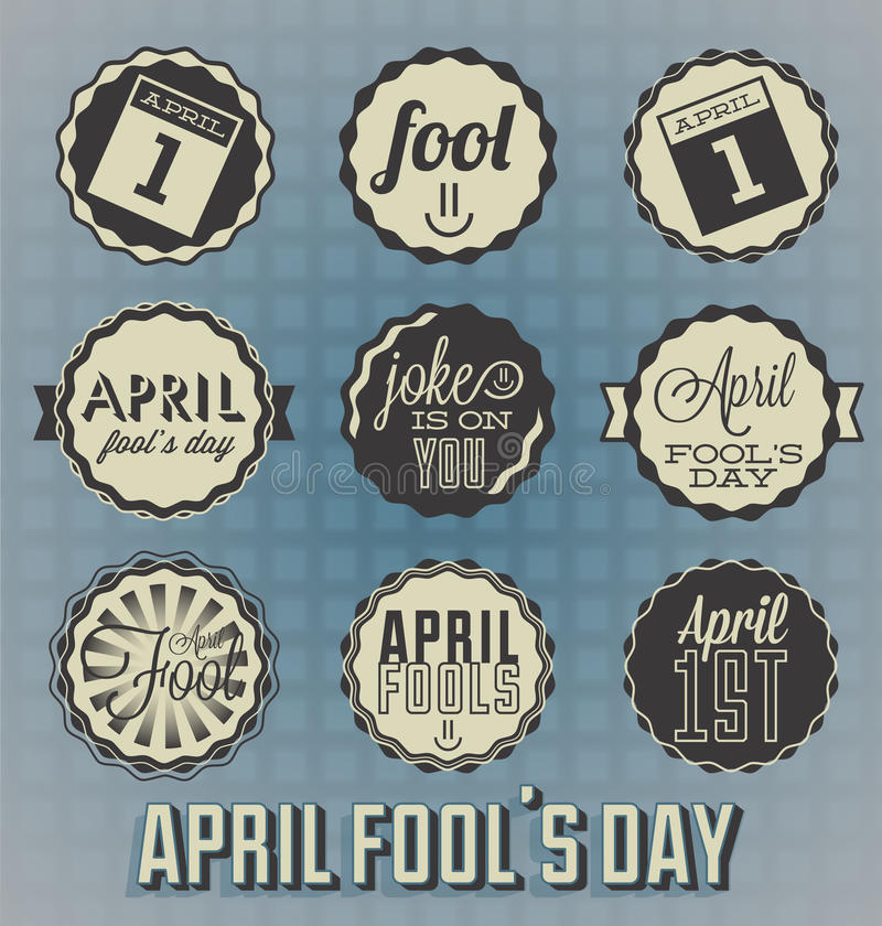 Vintage April Fools Day Labels illustration libre de droits